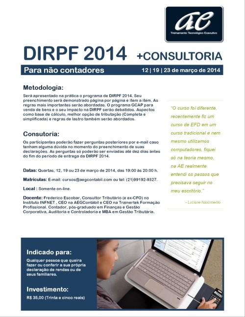 Curso Intensivo de DIRPF 2014. Faça você mesmo sua declaração!