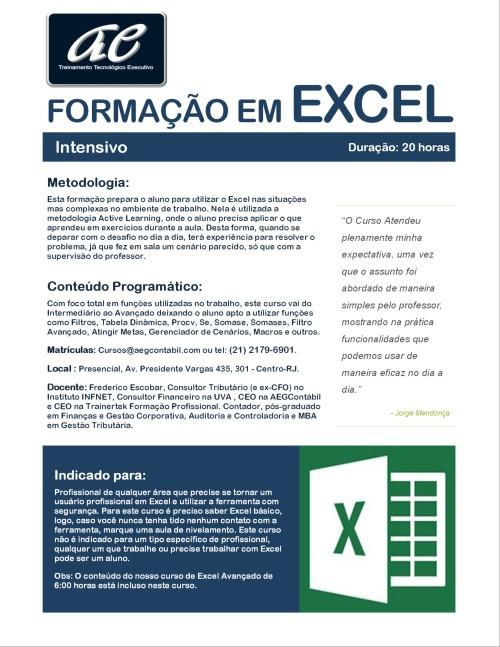 Formação em Excel